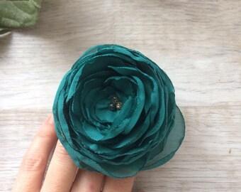 Pigtail Chiffon flower on elastic holder, Ponytail holder, hair tie set, elastic hair ties, hair jewelry, flower hair accessory