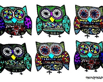 Multi -Colored Owls . Fabric Iron On Appliques . Several Set Sizes Available