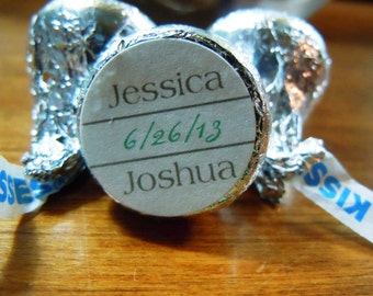 1/2 order Basic Personalized Hershey Kiss Wedding Sticker two colors