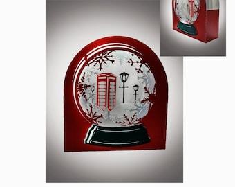Snow Globe card Red Phone Box template