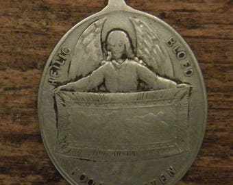 Antique silver religious angel medal pendant holy blood of Hoogstraten a town in Belium