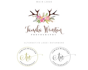 Watercolor antler logo, Premade logo design, Deer antler logo, Branding kit flower, Photography logo, Blog logo, Rustic, watermark logo, 15