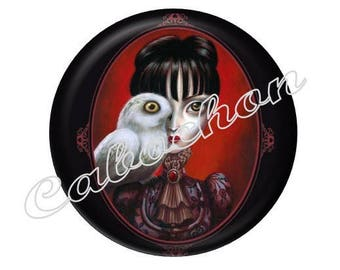 2 cabochons 25mm glass woman Gothic character, red and black tone