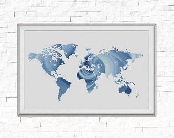 BOGO FREE! Map Cross Stitch Pattern, World Map Silhouette Rose Flower Counted Cross Stitch Chart Modern Decor PDF Instant Download #025-17-2