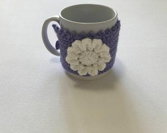 Flower mug cozy,lavender cup cozy, tea cup cozy, gift idea, crochet mug cozy, flower cup cozy, mug hug