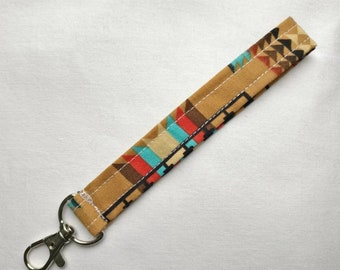 Brown Fabric Key Fob with Colorful Abstract Pattern   Key Chain