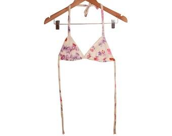 Kawaii Pink n Lavendar Butterfly 70s Vintage Fabric String Bikini Top new diy handmade Size Small