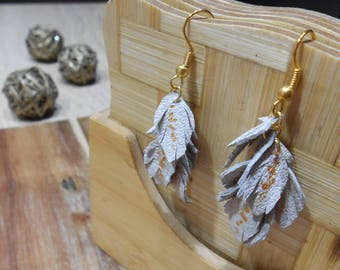 Leather earrings hand made.Small leaves multi-color