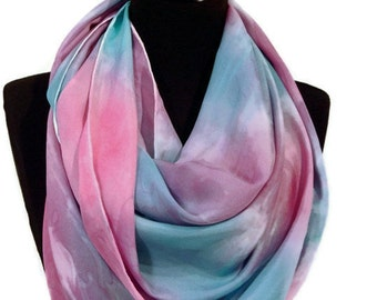 Large Pink and Blue Hand Painted Silk Scarf - Babyshower//Gender Reveal//Shawl//Gift for Her