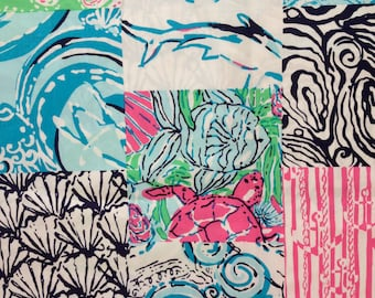 "multi osterville patch poplin cotton fabric square 18""x18"" ~ lilly pulitzer"
