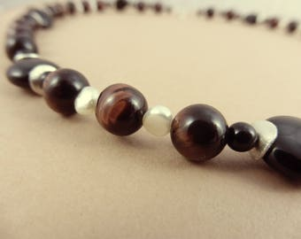 """Red Tiger Eye, Freshwater Pearls & Onyx Necklace - """"Shaman Relic"""""""