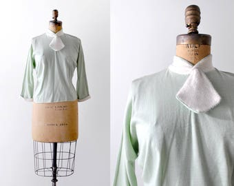 1960's mint green top. large. white ascot necktie. 60 secretary blouse.