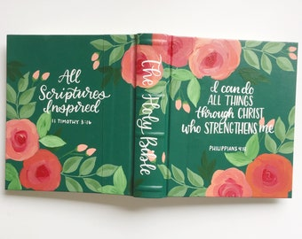 Custom Design Hand Painted Bible Unique Christian Gift