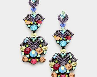 Chandelier Earrings | 202-15 | Chandelier Pageant Earrings | Prom Earrings | Long Chandelier Earrings |Crystal Earrings|Multi Color Earrings
