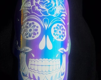 Holographic sugar skull decal