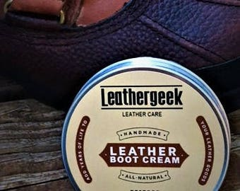 LeatherGeek™ Neutral Leather Boot Cream | Genuine Leather Restorers and Waterproof | Leather Care for Shoes, Boots, and More | Made in USA