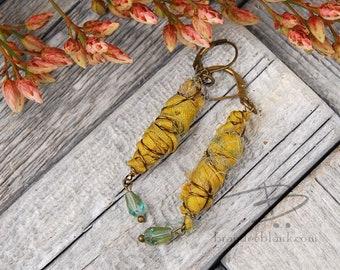 Yellow boho chic  sari silk dangle earrings