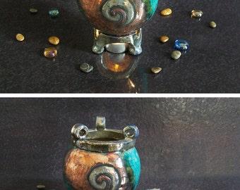 raku essential oil burner magic cauldron, witches cauldron, ceramic oil diffuser, ceramic oil warmer, witchcraft supply, aromatherapy burner
