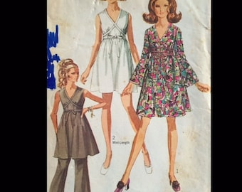 Vintage 60s Grecian Inspired Flared Sleeve Sleeveless Mini Dress Hostess Set Sewing Pattern 8033 B31