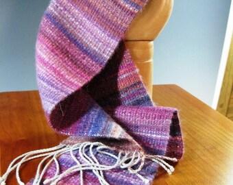 Handwoven Silk and Wool Scarf/Sash: Stone Fruit Haiku