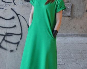 Maxi Dress, Long Summer Dress, Plus Size Loose Dress, Green Dress Women, Strech Cotton Dress, Short Sleeve Dress BY EUG - DR0097W2