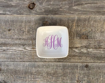 Monogram Ring Dish // Square Ring Dish // Customizable //Personalized // Jewelry Holder
