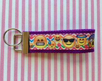 Emoji ribbon mini finger key chain key fobs Cotton Webbing 1.25 Inch Key Fob
