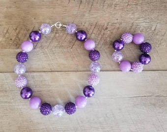 Purple Chunky Necklace, Bubblegum Bead Necklace, Chunky Beads, Baby Bubblegum Necklace, First Birthday, Purple Baby Necklace, Photo Prop