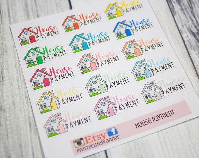 House Payment Planner Sticker - Reminder Sticker - Planner Stickers - Functional stickers - Rent Sticker - Happy Planner - Fits Erin Condren