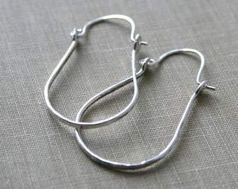 Forged Shiny Sterling Silver Hoop Earrings