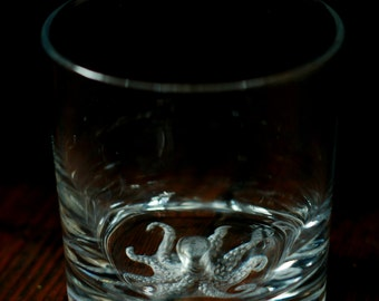 Kraken Whiskey Tumbler, MADE TO ORDER, Hand Engraved perfect gift for him!