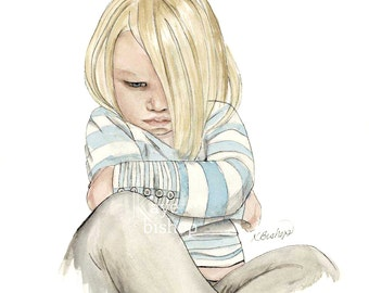 Grumpy Toddler, Watercolor Painting, Giclee Print, Toddler Girl Pouting, Arms Crossed, Angry, Attitude
