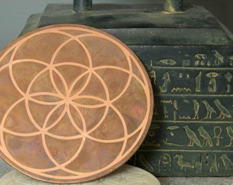 """Double side etched sacred geometry 4"""" copper seed & flower of life charging plate."""