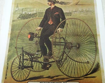 Vintage Bicycle Poster Howe Bicycles Man on Tricycle 1878 Poster Size Book Plate