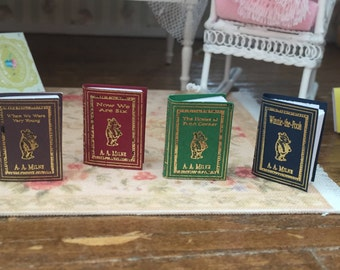 Miniature Winnie The Pooh Book Set, AA Milne Miniature Books, Dollhouse Miniatures, 1:12 Scale, Mini Books, 4 Book Set, Milne Winnie Books