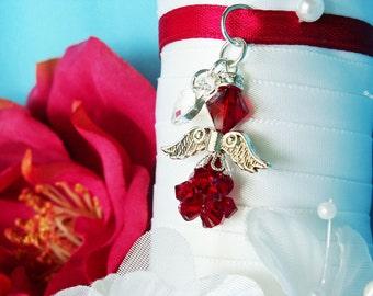 Christmas Wedding Bouquet Charm Red Swarovski Crystal Angel Bridal Bouquet Charm