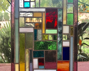 """Stained Glass Window Panel,  11.5"""" x 12"""""""