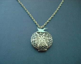 Victorian Style Filigree Locket Charm necklace - blue verdigris patina bird