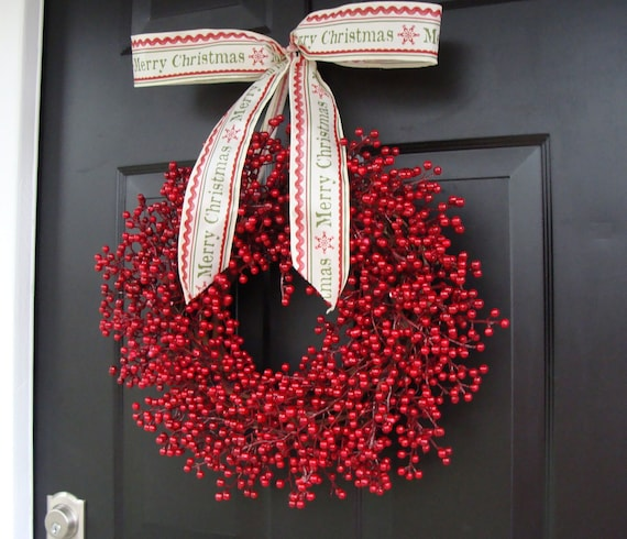 Red Berry Wreath, Christmas Decor, Christmas Wreath, Berry Wreaths, Cranberry Wedding Decor, Winter Wreath