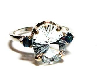 "Topaz, topaz and topaz ring, topaz accent ring,  blue white, anniversary,  s 7 1/4   ""Streaking"""