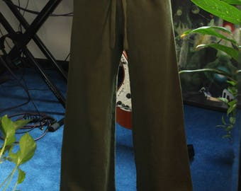 drawstring sweatpants - 100% hemp and organic cotton - hand dyed in moss - small