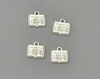 Antique Silver Tone Bible Charm (AS00-0029)