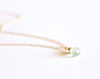Tiny Aquamarine Necklace - 14k Gold Fill or Sterling Silver - Wire Wrapped - Gemstone Necklace - March Birthstone - Layering -Tear Drop Mint