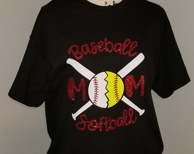Baseball Softball Mom T-shirt  Adult Shirt Red White Mother Sport Batter Glitter Vinyl