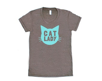 Cat Lady TriBlend Heather Brown with Aqua Blue TShirt - Family Photos, Gift for Her, Kitty, Meow, Caturday