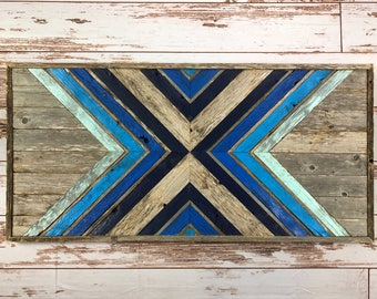 Shades Of Blue. Reclaimed Wood Wall Art. Ombre Style. Home Decor. Reclaimed Wood. Barnwood Art. Wood Mosaic Art
