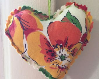 Decorative, hand stitched, hanging heart, Valentines Day, nusery, birthday, packaging decoration
