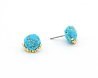 Velvet Braided Stud Earrings with Metallic Thread and Beads - Hand Sewn Earrings - Colorful Stud Earrings by Ashdel