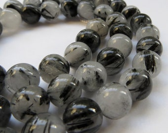 8mm Round, Smooth Tourmalinated (Tourmalated) Quartz Gemstone Beads, Full Strand
