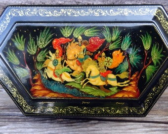 Vintage Unique Russian Palekh Box, The Tsar's 3 Princes, Hinged Hexagon Hand Painted Paper Mache Black Lacquer, The Princess Frog, Folk Art